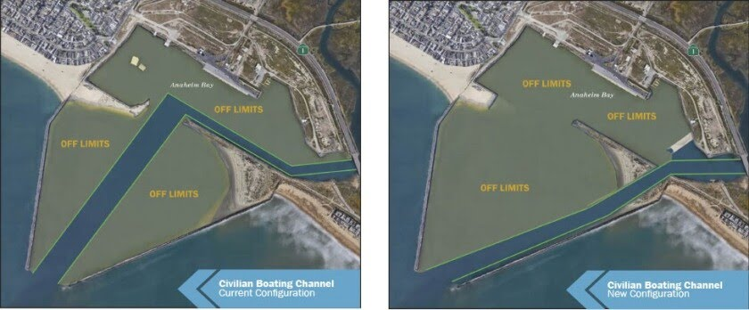 The changes in the civilian boating channel at Anaheim Bay, effective Thursday.